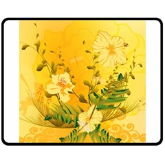 Wonderful Soft Yellow Flowers With Dragonflies Double Sided Fleece Blanket (Medium)