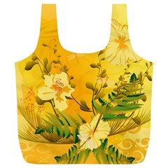 Wonderful Soft Yellow Flowers With Dragonflies Full Print Recycle Bags (L)