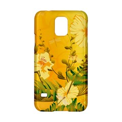 Wonderful Soft Yellow Flowers With Dragonflies Samsung Galaxy S5 Hardshell Case