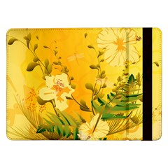 Wonderful Soft Yellow Flowers With Dragonflies Samsung Galaxy Tab Pro 12.2  Flip Case