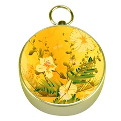 Wonderful Soft Yellow Flowers With Dragonflies Gold Compasses