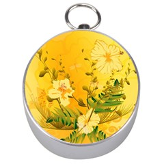 Wonderful Soft Yellow Flowers With Dragonflies Silver Compasses