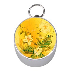 Wonderful Soft Yellow Flowers With Dragonflies Mini Silver Compasses