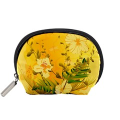 Wonderful Soft Yellow Flowers With Dragonflies Accessory Pouches (Small)
