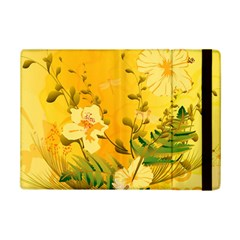 Wonderful Soft Yellow Flowers With Dragonflies iPad Mini 2 Flip Cases