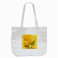 Wonderful Soft Yellow Flowers With Dragonflies Tote Bag (White)