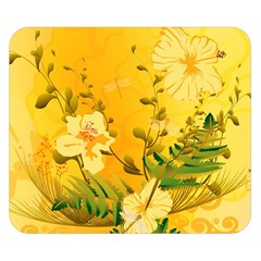 Wonderful Soft Yellow Flowers With Dragonflies Double Sided Flano Blanket (small)