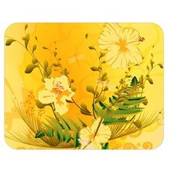 Wonderful Soft Yellow Flowers With Dragonflies Double Sided Flano Blanket (medium)
