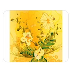 Wonderful Soft Yellow Flowers With Dragonflies Double Sided Flano Blanket (large)