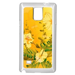 Wonderful Soft Yellow Flowers With Dragonflies Samsung Galaxy Note 4 Case (White)