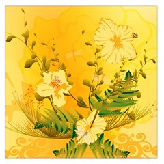 Wonderful Soft Yellow Flowers With Dragonflies Large Satin Scarf (Square)