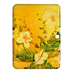 Wonderful Soft Yellow Flowers With Dragonflies Samsung Galaxy Tab 4 (10.1 ) Hardshell Case