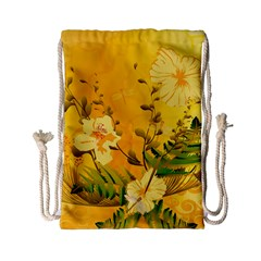 Wonderful Soft Yellow Flowers With Dragonflies Drawstring Bag (Small)