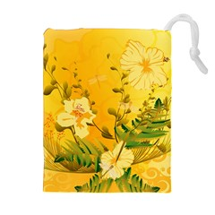 Wonderful Soft Yellow Flowers With Dragonflies Drawstring Pouches (Extra Large)