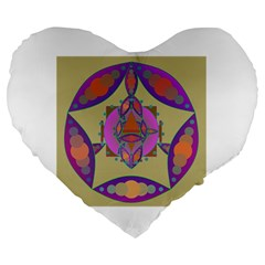 Mandala Large 19  Premium Heart Shape Cushions