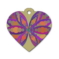 Fly-Mandala Dog Tag Heart (One Side)