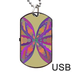 Fly Mandala Dog Tag Usb Flash (one Side)