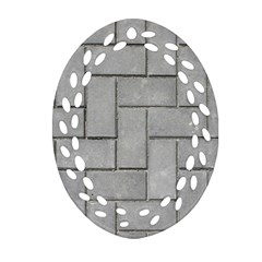 Alternating Grey Brick Oval Filigree Ornament (2 Side)