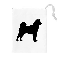 Shiba Inu Silhouette Drawstring Pouches (Extra Large)
