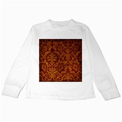 ROYAL RED AND GOLD Kids Long Sleeve T-Shirts