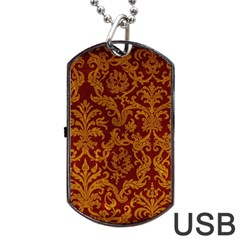 ROYAL RED AND GOLD Dog Tag USB Flash (One Side)