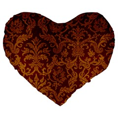 ROYAL RED AND GOLD Large 19  Premium Heart Shape Cushions