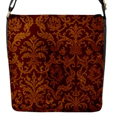 ROYAL RED AND GOLD Flap Messenger Bag (S)