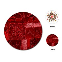 Red Patchwork Playing Cards (round)