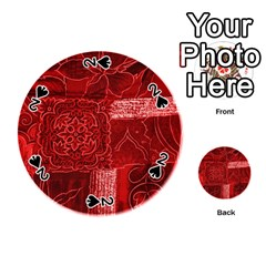 Red Patchwork Playing Cards 54 (round)