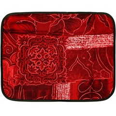 RED PATCHWORK Double Sided Fleece Blanket (Mini)