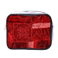 RED PATCHWORK Mini Toiletries Bags