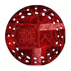 Red Patchwork Round Filigree Ornament (2side)