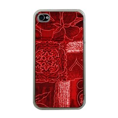 RED PATCHWORK Apple iPhone 4 Case (Clear)