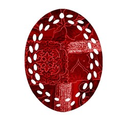 Red Patchwork Ornament (oval Filigree)