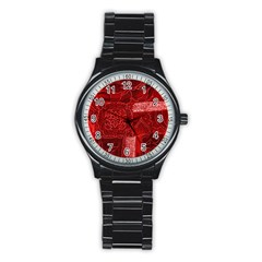 RED PATCHWORK Stainless Steel Round Watches
