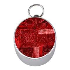 Red Patchwork Mini Silver Compasses