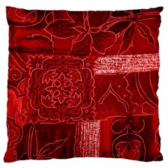 RED PATCHWORK Large Flano Cushion Cases (One Side)