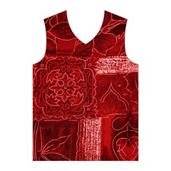 RED PATCHWORK Men s Basketball Tank Top