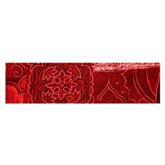 Red Patchwork Satin Scarf (oblong)