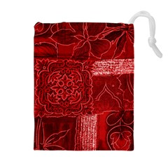RED PATCHWORK Drawstring Pouches (Extra Large)