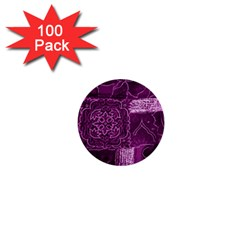 MAGENTA PATCHWORK 1  Mini Buttons (100 pack)