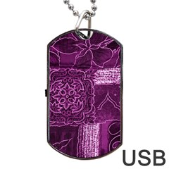 MAGENTA PATCHWORK Dog Tag USB Flash (Two Sides)