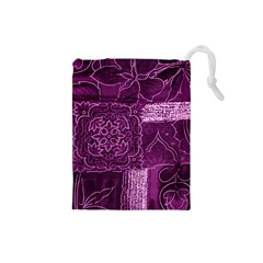 MAGENTA PATCHWORK Drawstring Pouches (Small)