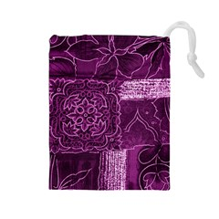 Magenta Patchwork Drawstring Pouches (large)