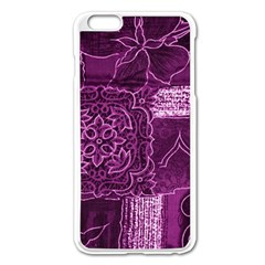 Magenta Patchwork Apple Iphone 6 Plus/6s Plus Enamel White Case