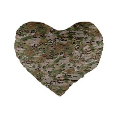 Camo Woodland Faded Standard 16  Premium Flano Heart Shape Cushions