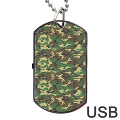 Camo Woodland Dog Tag Usb Flash (one Side)
