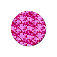 CAMO PINK Rubber Round Coaster (4 pack)