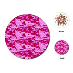 Camo Pink Playing Cards (round)
