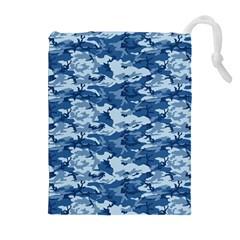 Camo Navy Drawstring Pouches (extra Large)